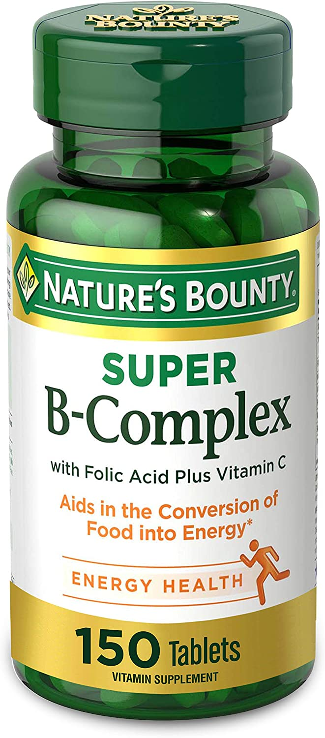 Nature's Bounty Super B-Complex with Folic Acid plus Vitamin C Supports Immune Health, 150 Coated Tablets