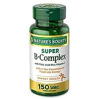 Vitamin B Complex by Nature's Bounty, Super B Complex Vitamins w/ Vitamin C for Immune Support & Folic Acid, 150 Tablets