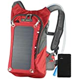 SolarGoPack Solar Powered 1.8 Liter Hydration Backpack / 7 Watt Solar Panel and 10K mAh Charging Battery/Phone and Electronic Device Power Charger Back Pack