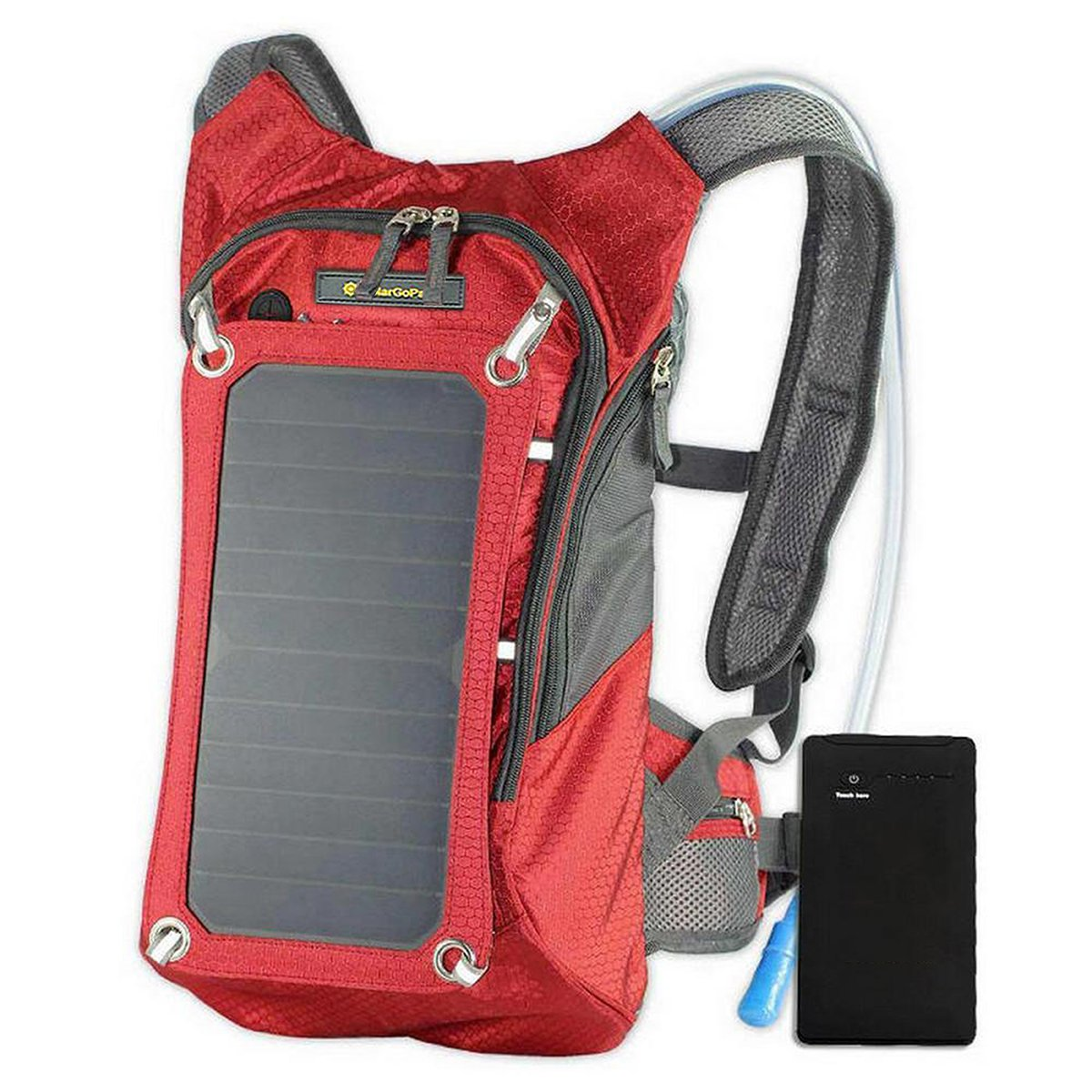 SolarGoPack Solar Powered 1.8 Liter Hydration Backpack / 7 Watt Solar Panel and 10K mAh Charging Battery/Phone and Electronic Device Power Charger Back Pack/Red