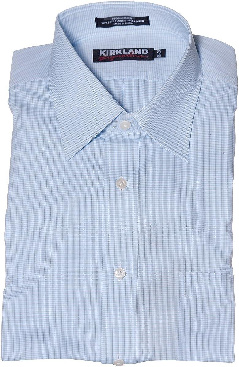Kirkland Signature Men's Non Iron Button Down Dress Shirt Baby Blue/White/Black Mini Checkers