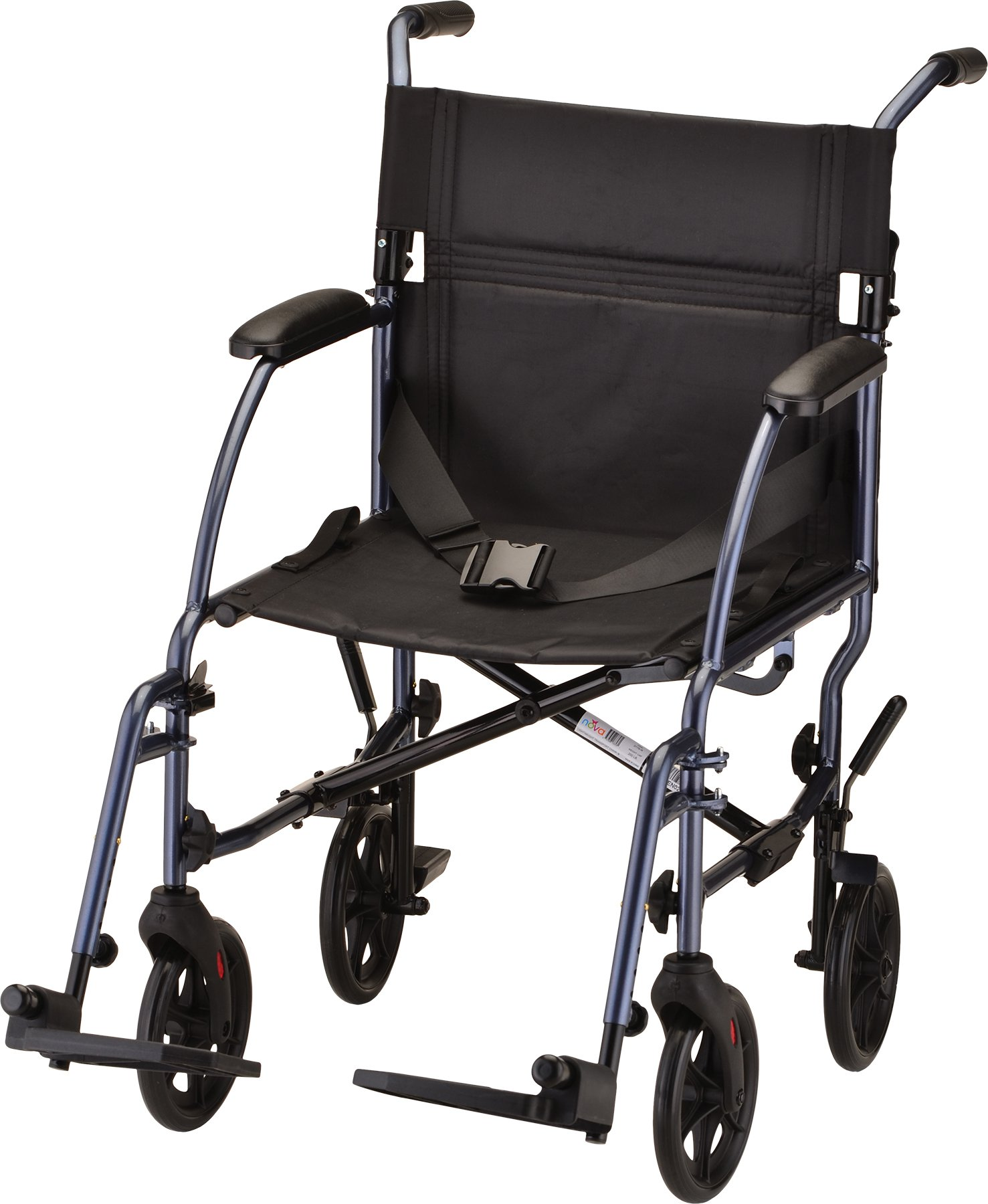 NOVA Medical Products Lightweight Transport Chair, Blue, 18 Inch, 20 Pound