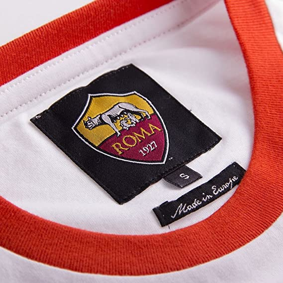 AS Roma Retro Logo Camiseta - Blanco (XL): Amazon.es: Deportes y aire libre