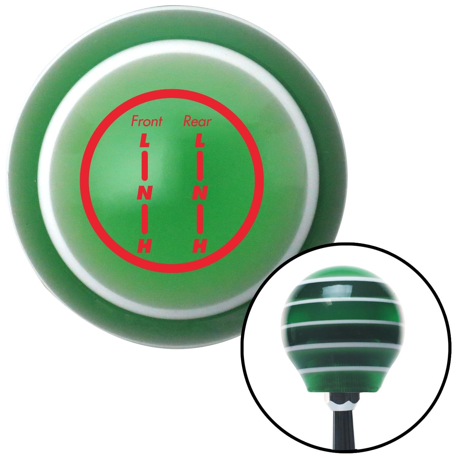 Red Transfer Case #7 American Shifter 127666 Green Stripe Shift Knob with M16 x 1.5 Insert