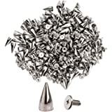 "100pcs Cone Spikes Screwback Studs DIY Craft Cool Rivets Punk Stud Coincal 7x15mm 1/4""5/8"" Silver"