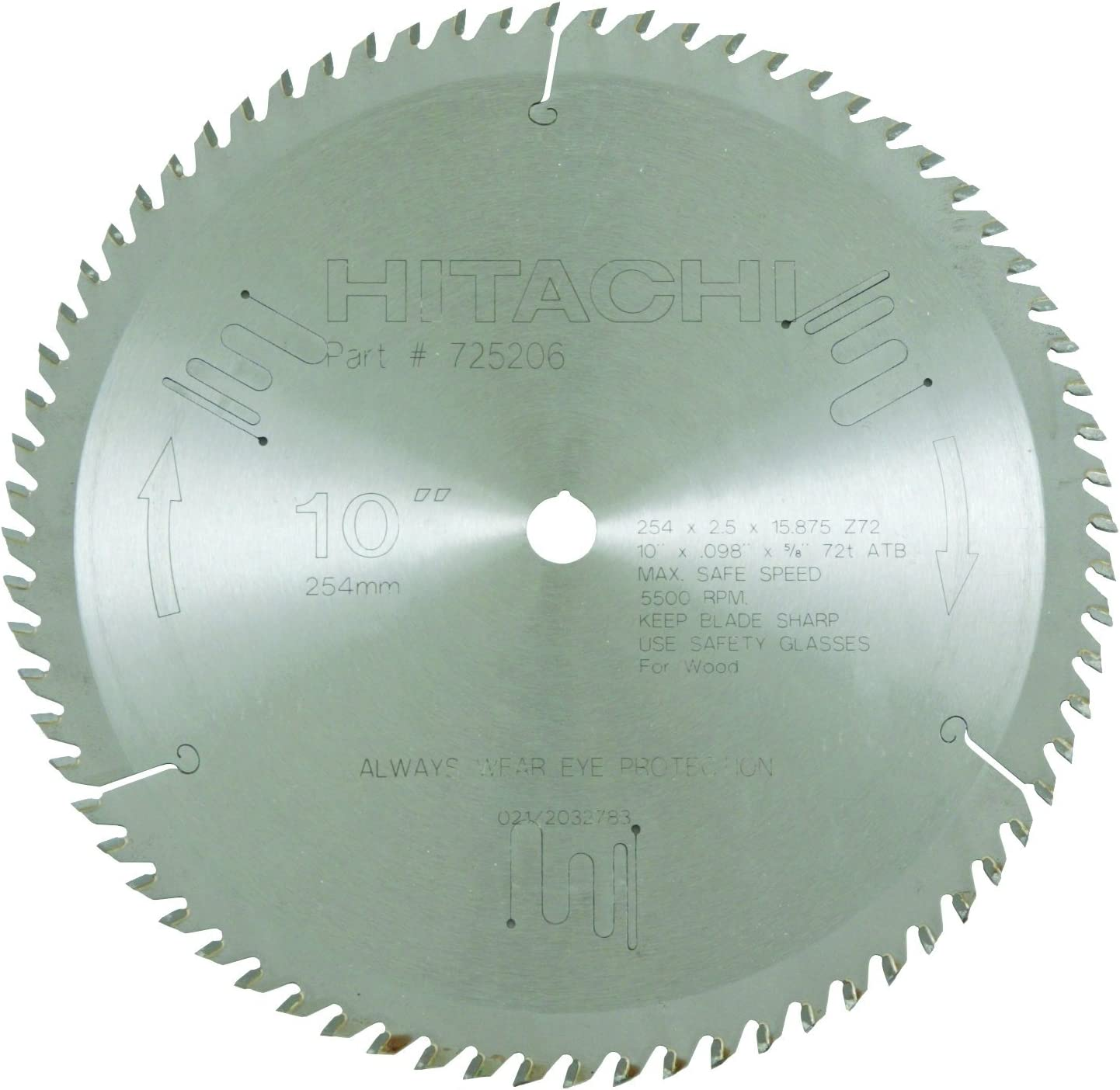 8. Hitachi 725206 10-Inch Miter Saw Blade