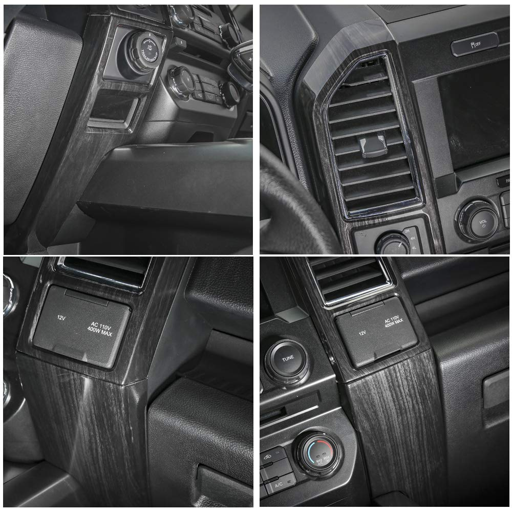 Voodonala Black Grain Central Contral Panel Air Conditioning Outlet Vent Covers Frame for Ford F150 2015 2016 2017 by Voodonala (Image #2)