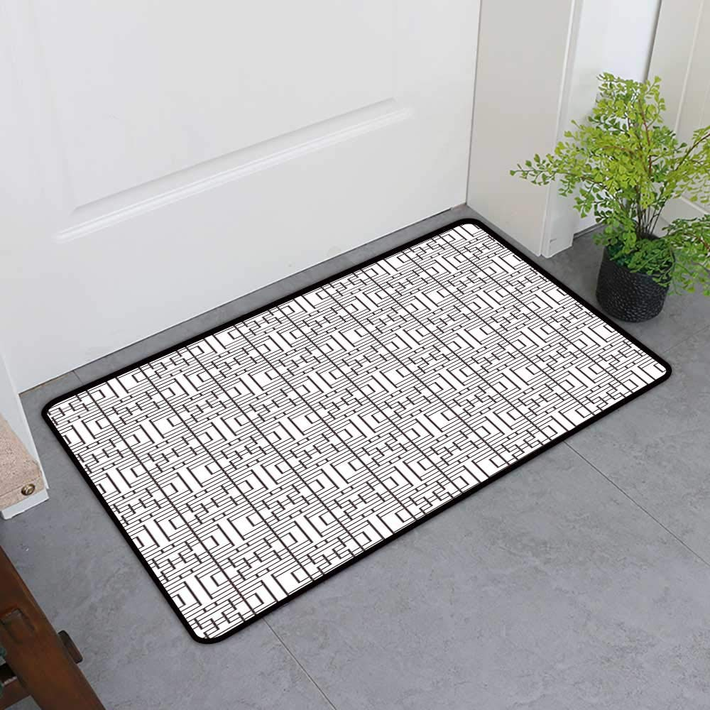 TableCovers&Home Entrance Door Mat, Geometric Decorative Rugs for Kitchen, Grid Pattern with Squares Rectangles Abstract Design Vintage Monochrome Image (Umber White, H24 x W36)