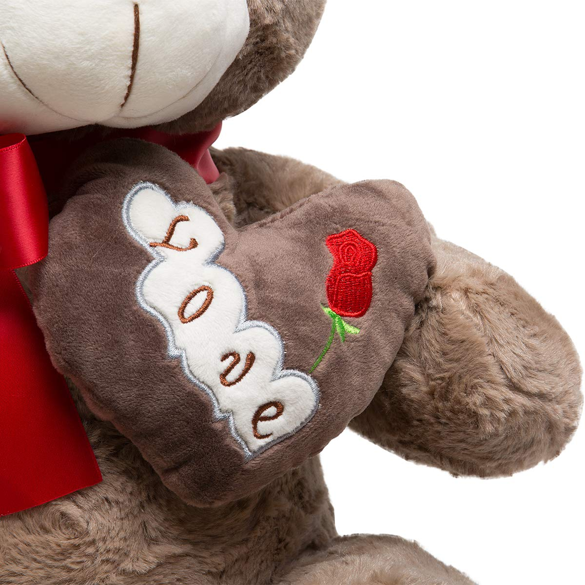 HollyHOME Plush Teddy Bear Big Stuffed Animal with Love Heart in The Chest Embroidered Love and Rose 26 Inches Tan