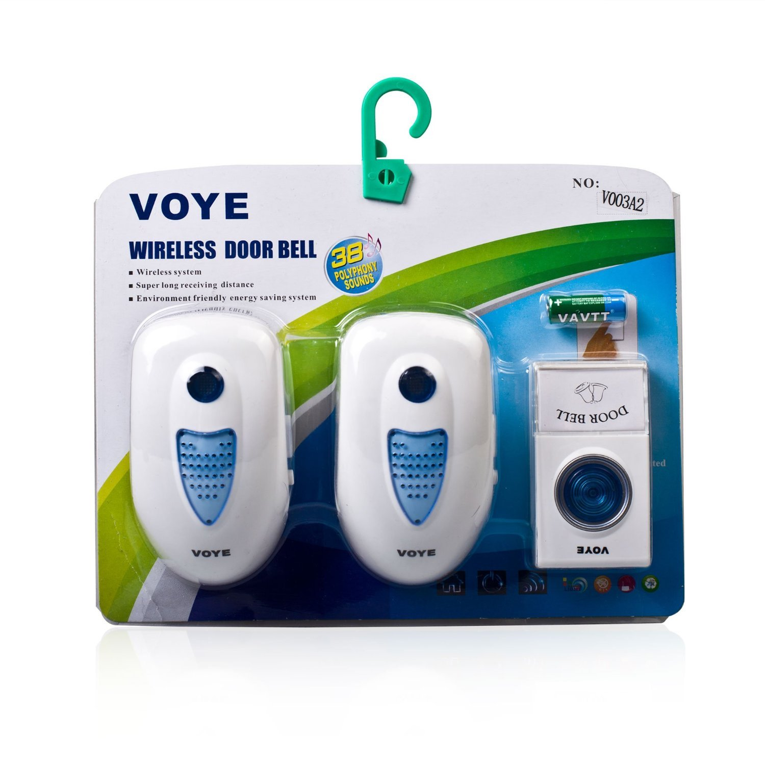 Voye 003A2 2 Plug In Wireless Digital Doorbell with Battery White