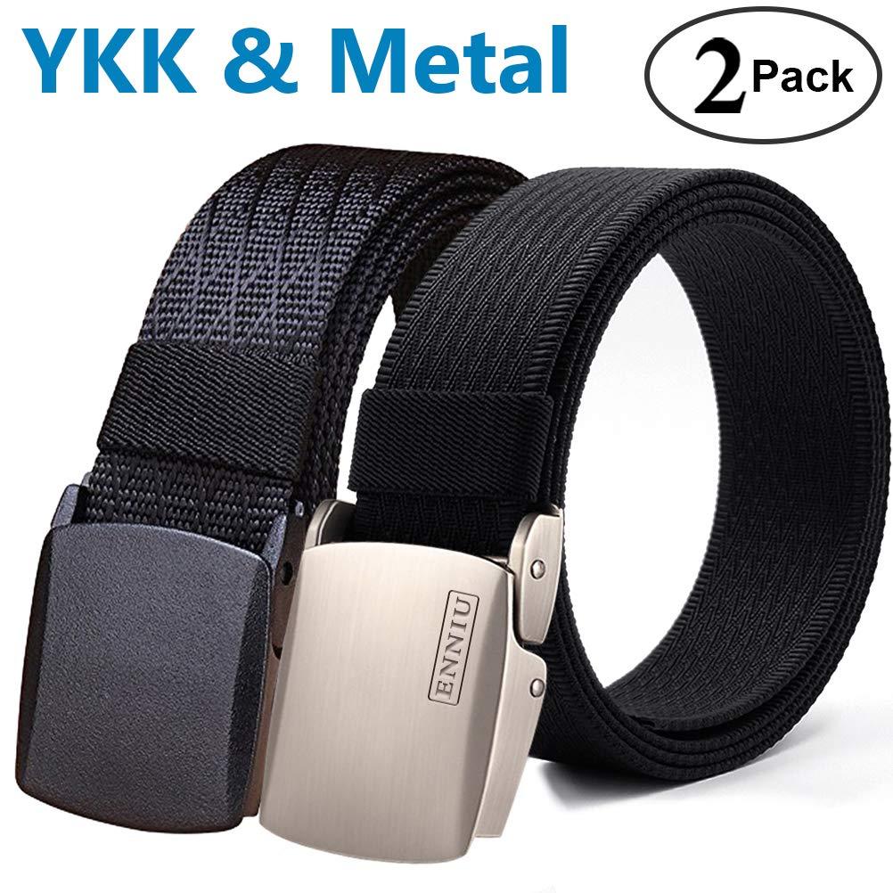 Fairwin Men's Military Tactical Web Belt, Nylon Canvas Webbing YKK Plastic Buckle Belt (Black&Black)