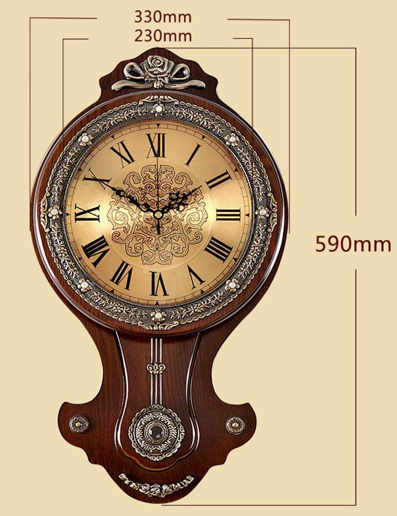 Cai 置き時計掛け時計-12インチのアンティークウッドアートミュートウォールクロックヨーロピアンスイングウォールクロックリビングルームラグジュアリーアートレトロソリッドウッドクラシックウォールクロック(カラーオプション) ( 色 : B ) B07C5GVZGQ B B