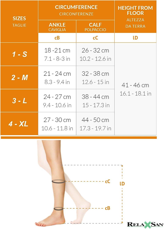 Relaxsan Antitrombo M1350A gambaletti punta aperta antiembolismo K2 per degenza compressione graduata 25-32 mmHg