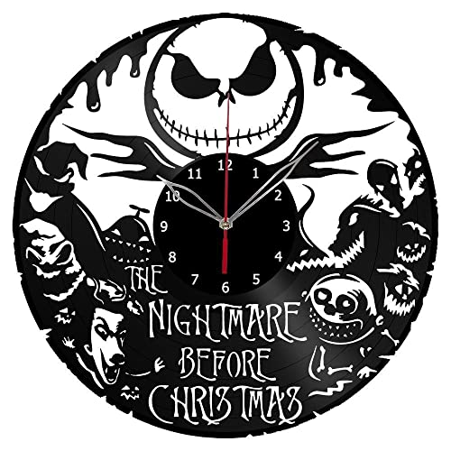 ForLovedGifts The Nightmare Before Christmas Jack Skellington Design Vinyl Wall Clock Handmade Gift for Any Occasion Unique Birthday, Wedding, Anniversary, Wall d cor Ideas for Any Space