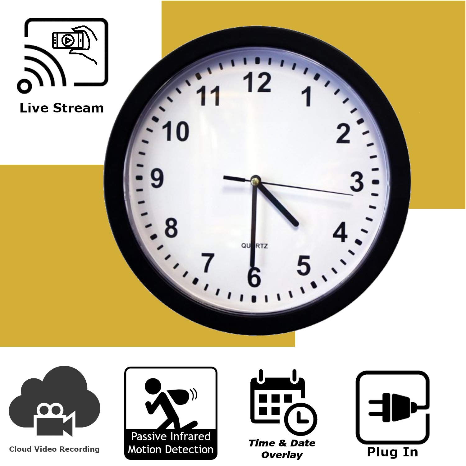 Discover IT | Wi-Fi Hidden Camera Spy Cam Home Surveillance Nanny Cam Wall Clock with Cloud Video Recording by Discover It