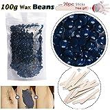 Cire Epilation, Cire Epilation Homme Wax Beans Kit Epilation avec 20 spatules en bois et Gants Jetables (Camomille)