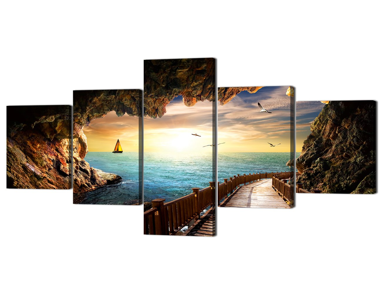 Ocean_10 Small Size Scene of Sea Waves Palm Tree Landscape Picture Modern Painting on Canvas 5 Piece Framed Wall Art for Living Room Bedroom Kitchen Home Decor Stretched Gallery Canvas Wrap Giclee Print (60''W x 32''H)