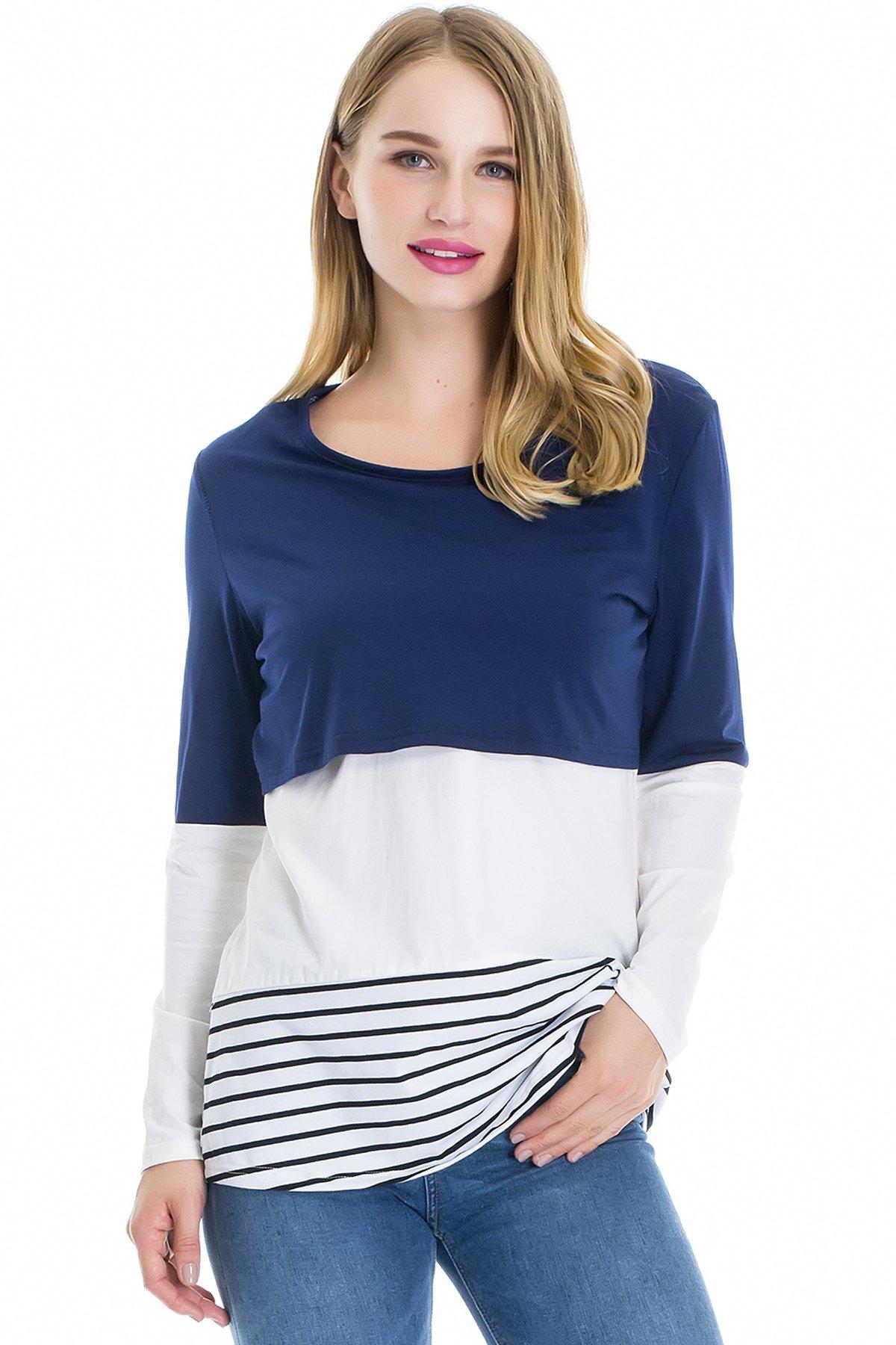 Smallshow Womens Long Sleeve Back Lace Maternity Nursing Tops Medium(170/88A) Blue