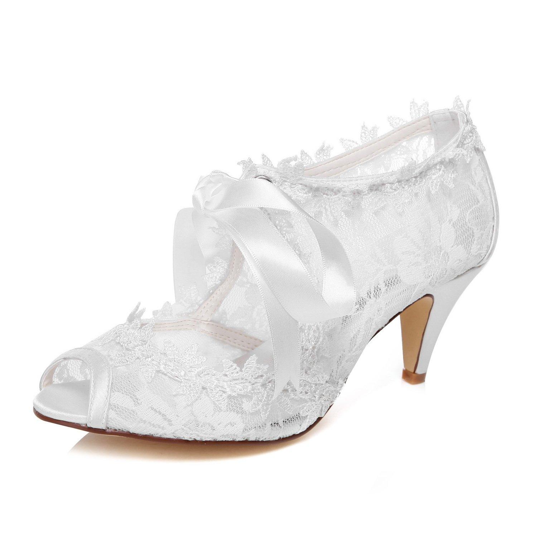 JIAJIA Women's Bridal Shoes 5949419 Peep Toe Cone Heel Lace Satin Pumps Ribbon Tie Wedding Shoes Color White,Size 8 B(M) US/39 EU