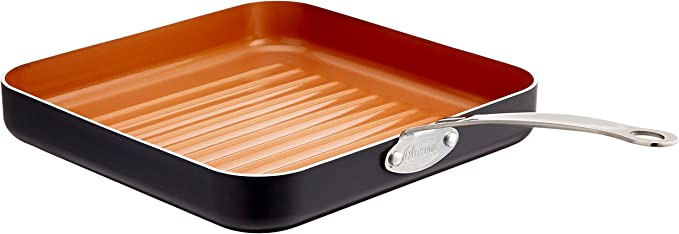"GOTHAM STEEL GRILL PAN – 10.5"" SQUARE ALUMINUM GRILL PAN WITH NONSTICK SURFACE"