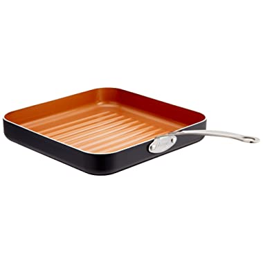 "Gotham Steel 10.5"" Non-Stick Grill Pan with Ti-Cerama Copper Surface– Grill in your oven or on your stovetop. Perfect for Steak, Paninis, Vegetables, Dishwasher Safe"