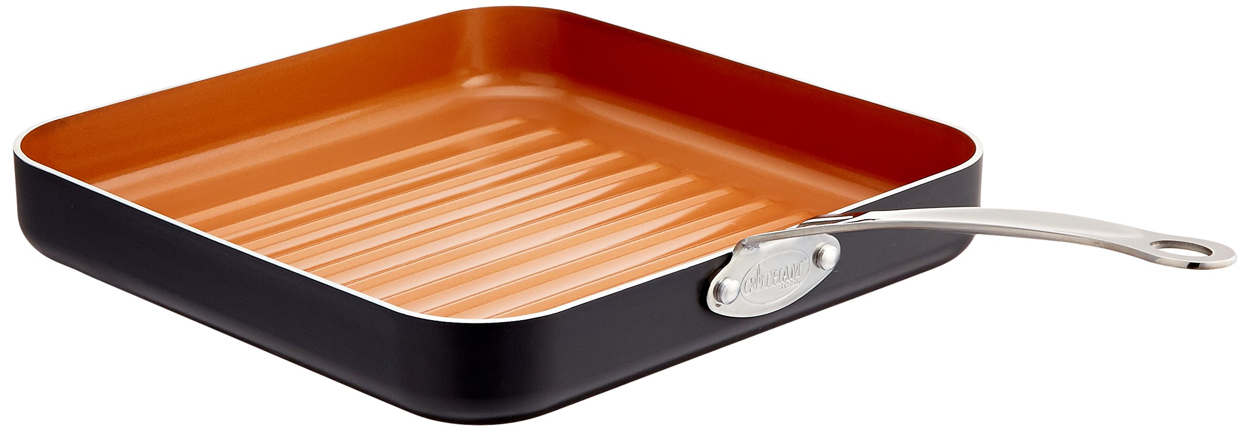 """Gotham Steel 10.5"""" Non-Stick Grill Pan with Ti-Cerama Copper Surface– Grill in your oven or on your stovetop. Perfect for Steak, Paninis, Vegetables, Dishwasher Safe"""