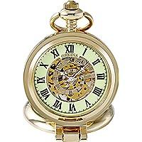 Reloj de bolsillo mecánico estilo clásico con diseño de esqueleto y cubierta de lupa