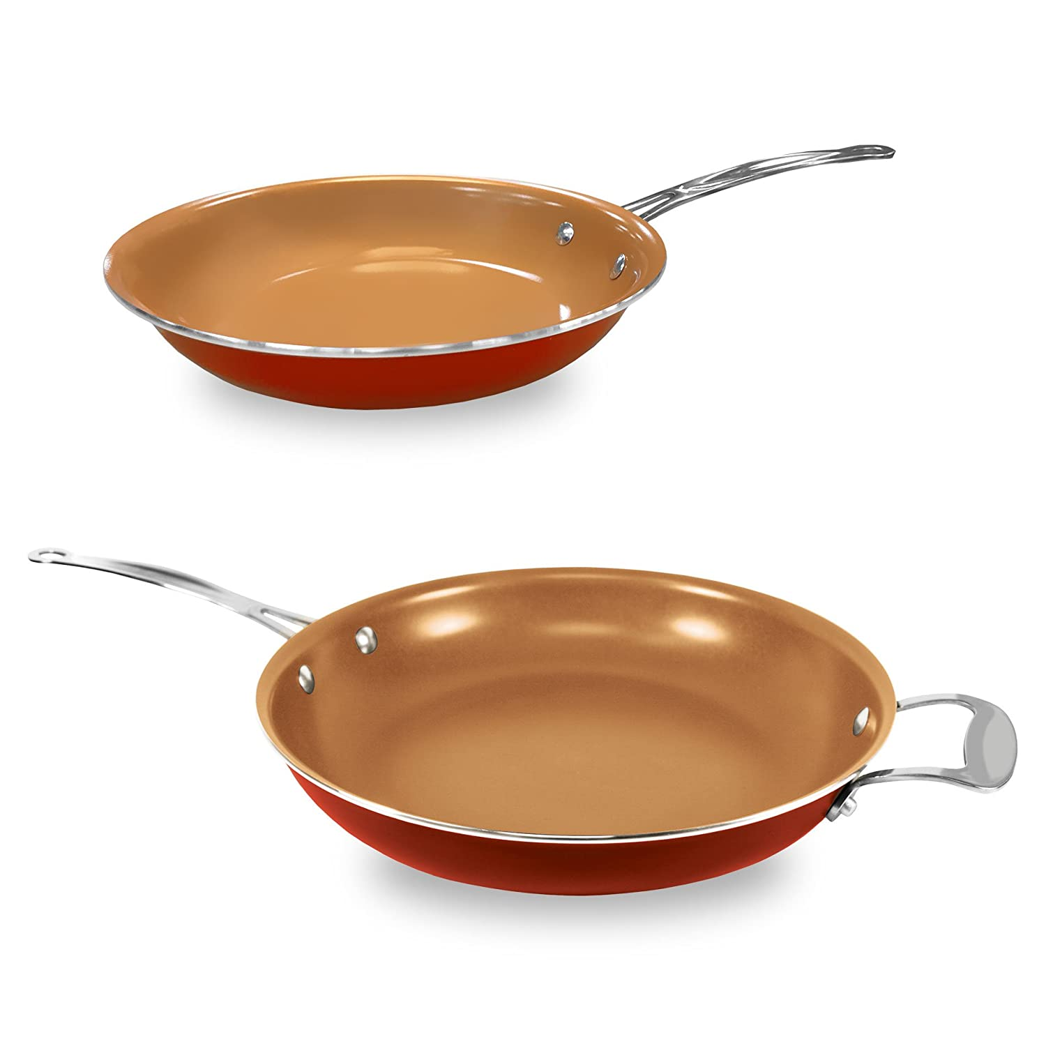 10 In Ceramic Pan With Copper Heat Conductor Updated Red