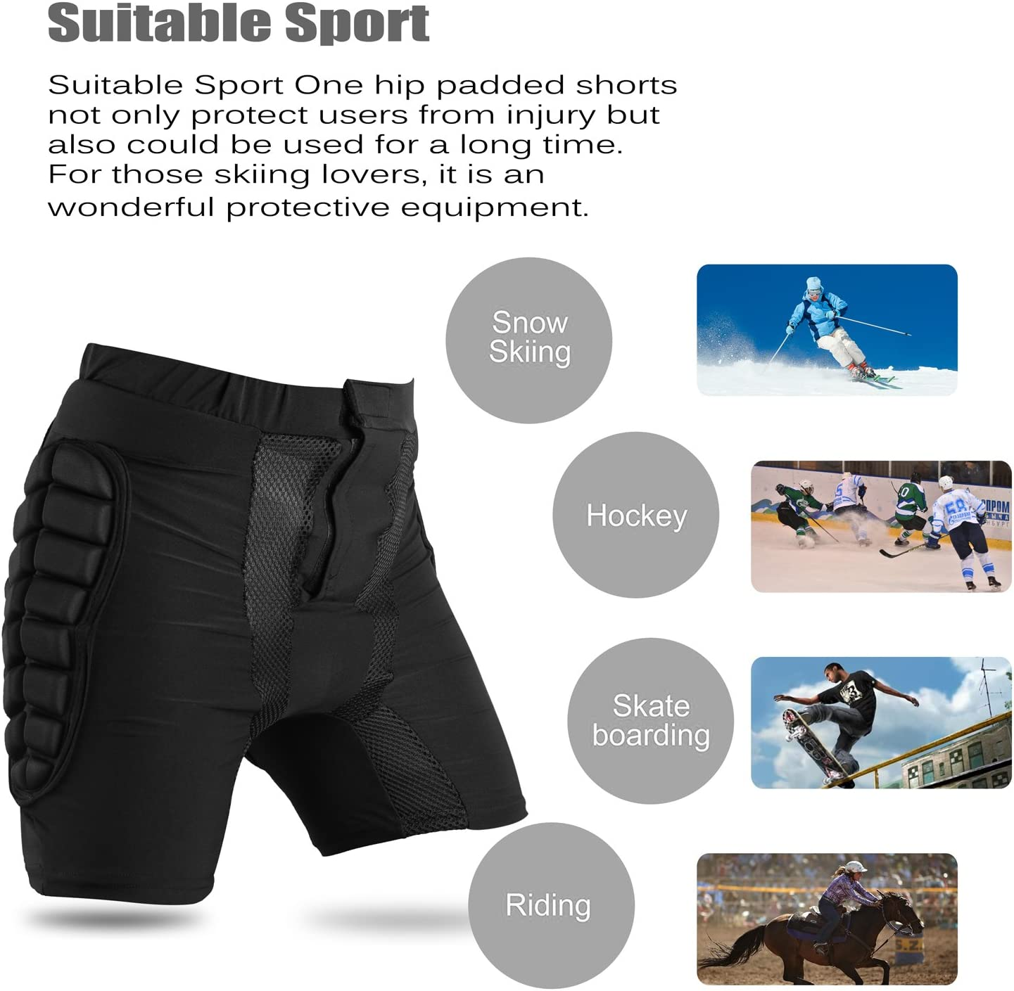 Kids Protection Hip 3D Padded Shorts Pants Breathable Lightweight Protective Gear for Ski Skate Snowboard