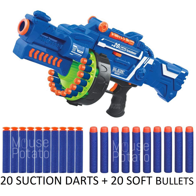 HetkrishiToys Blaze Storm Soft Bullet Gun with 20 Foam Bullets & 20 Suction Dart Bullets Battery Operated Gun (B07Q2346SW) Amazon Price History, Amazon Price Tracker