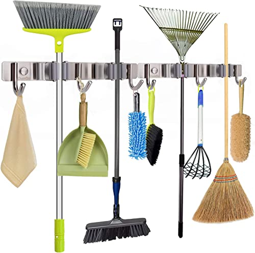 Mop Broom Holder Wall Mounted Stainless Steel Long-Term Use 11Inch Cleaning Tool Organizer 2Packs with 4 Clips 6 Hooks for Home Garage Garden Tool Storage