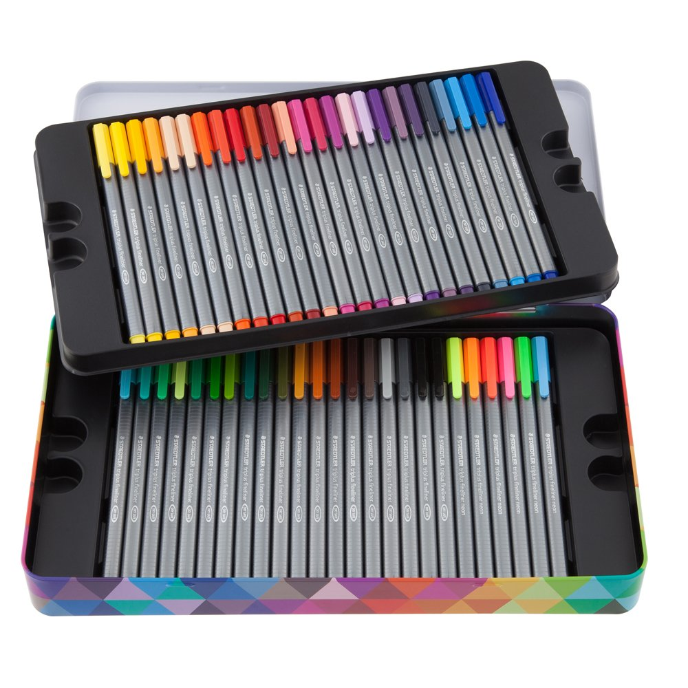 Staedtler Triplus Fineliner Pens, Metal Tin Containing 50 Assorted Colors (334 M50) by Staedtler (Image #2)