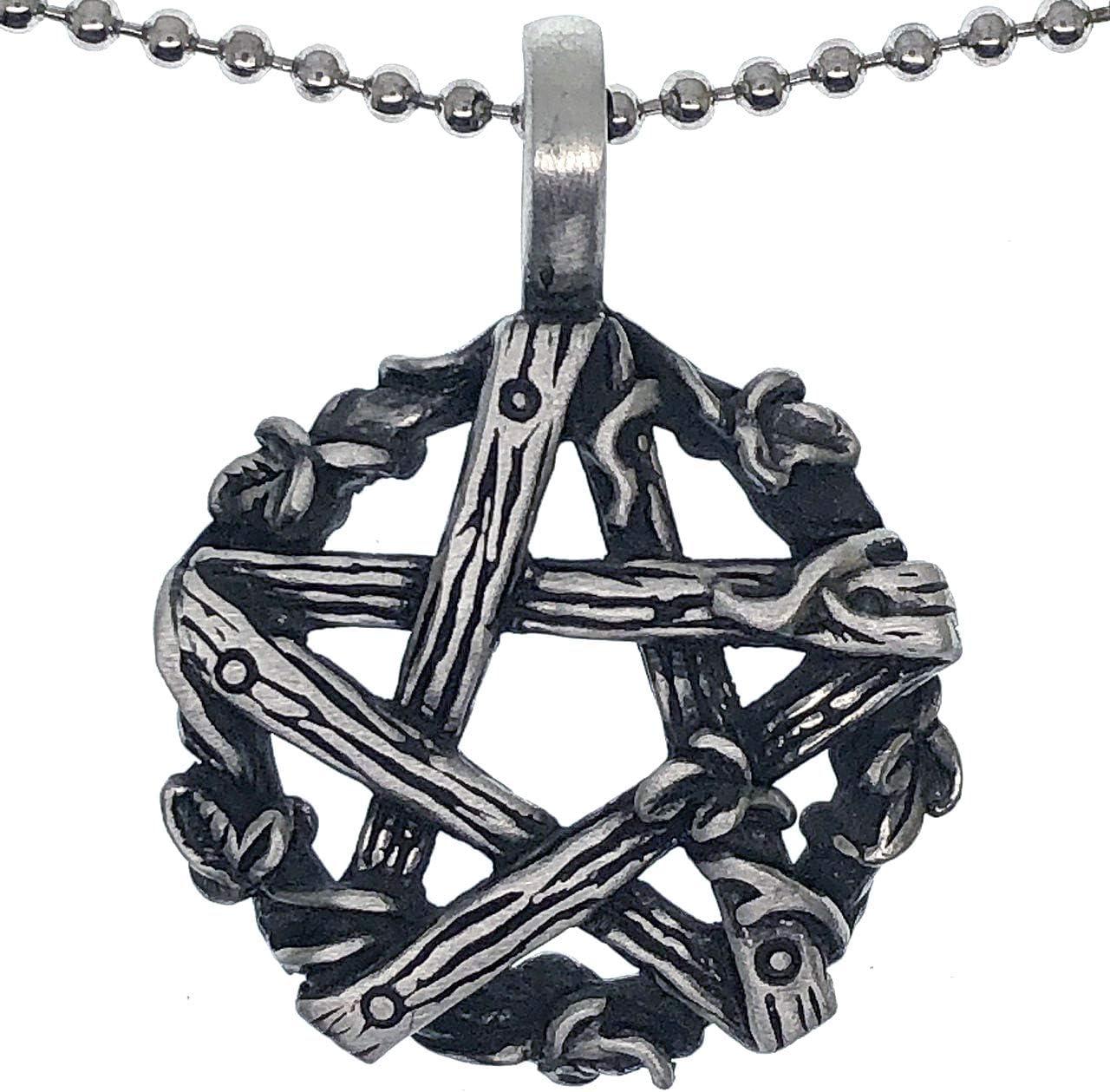 Plata Celta Pentáculo Collar gótico Wicca Pagano Colgante Sueño De Plumas De Fantasía