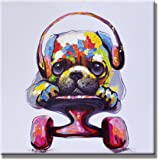 SEVEN WALL ARTS - Modern Animal Artwork 100% Hand-painted Oil Painting Stretched and Framed Ready to Hang for Living Room (24 x 24 Inch, Pulley Dog)