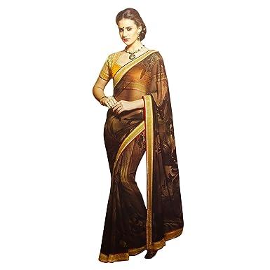 Georgette bestickt Hochzeit Sari indian ethnischen Partei zu tragen ...