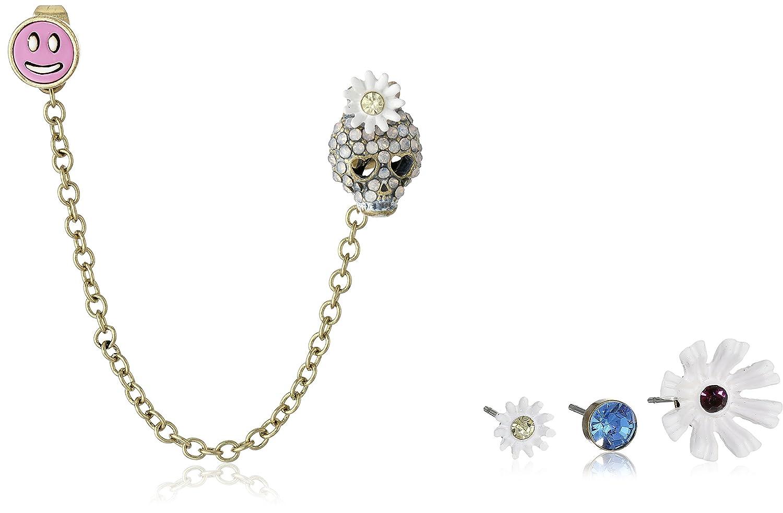 52a96229f48c4 Amazon.com: Betsey Johnson Women's Skull 5 Piece Set Earring Multi Brass Ox  Stud Earrings: Jewelry