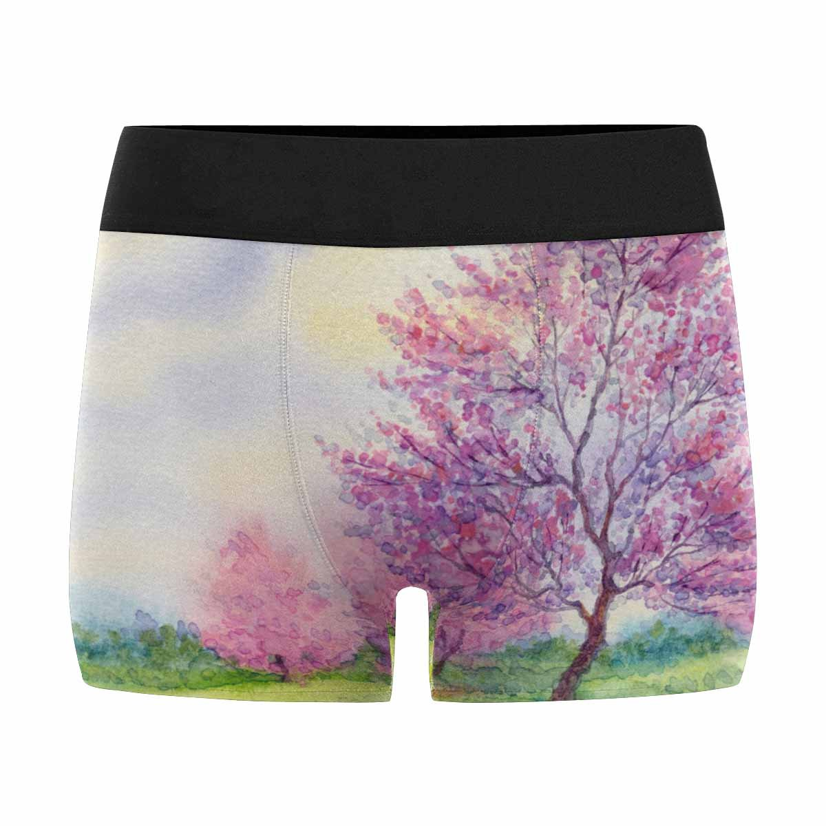 INTERESTPRINT Custom Mens All-Over Print Boxer Briefs Watercolor Spring Landscape Flowering Tree in Field XS-3XL