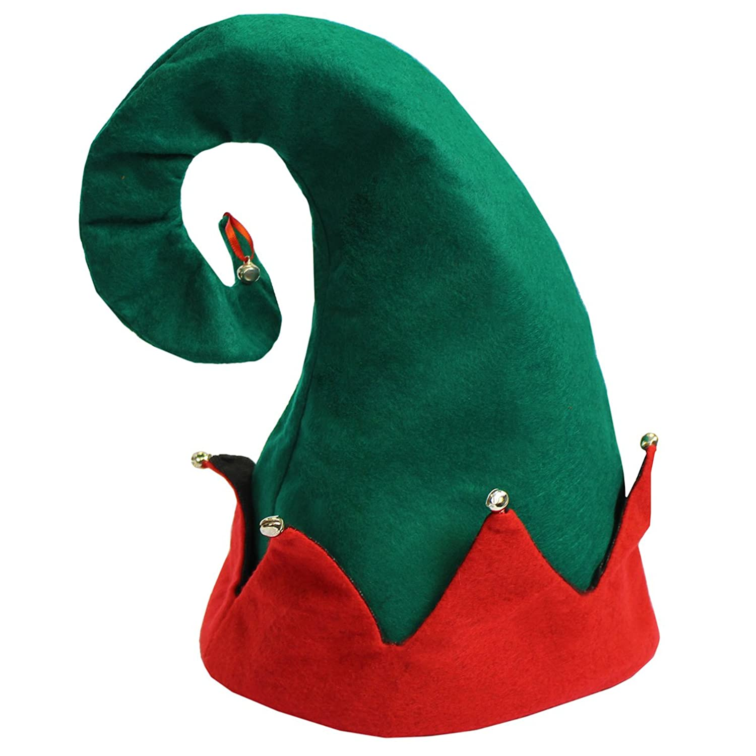 4ef218e577726 It is festive red and green felt elf hat. It is embellished with small  jingle bells. Ideal for holiday parties