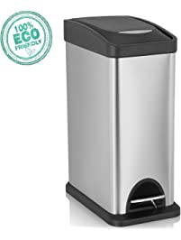 SVVSS 8 Liters Step Trash Can,Stainless Steel Trash Can With Lid,Removable  Inner