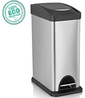 svvss rectangular step trash steel trash can with lid u0026 removable inner wastebasket