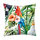 BONJIU Palm Leaf Decorative Throw Pillow Cover Case Tropical Flower Leaves Cotton Linen Outdoor Pillow Cases Square Standard Cushion Covers for Sofa Couch Bed