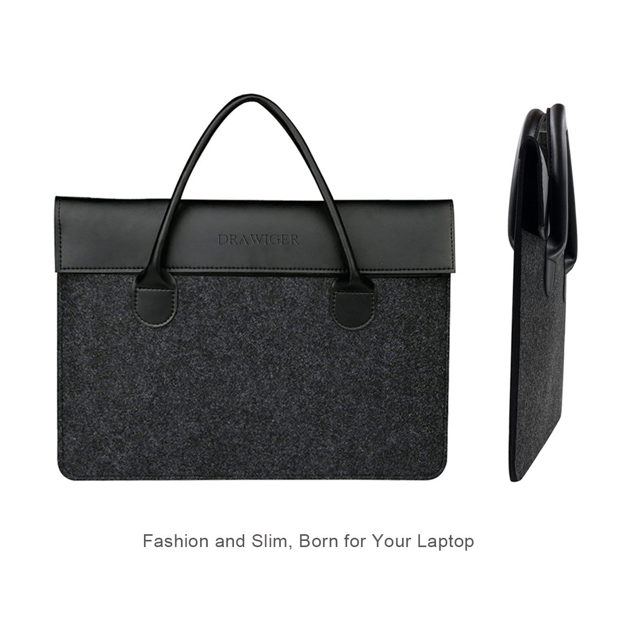 e094bf82635a Amazon.com: DRAWIGER Wool and Leather Laptop Bag Sleeve Briefcase ...
