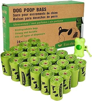 Amazon.com: Bolsas de caca biodegradables, 24 rollos/360 ...
