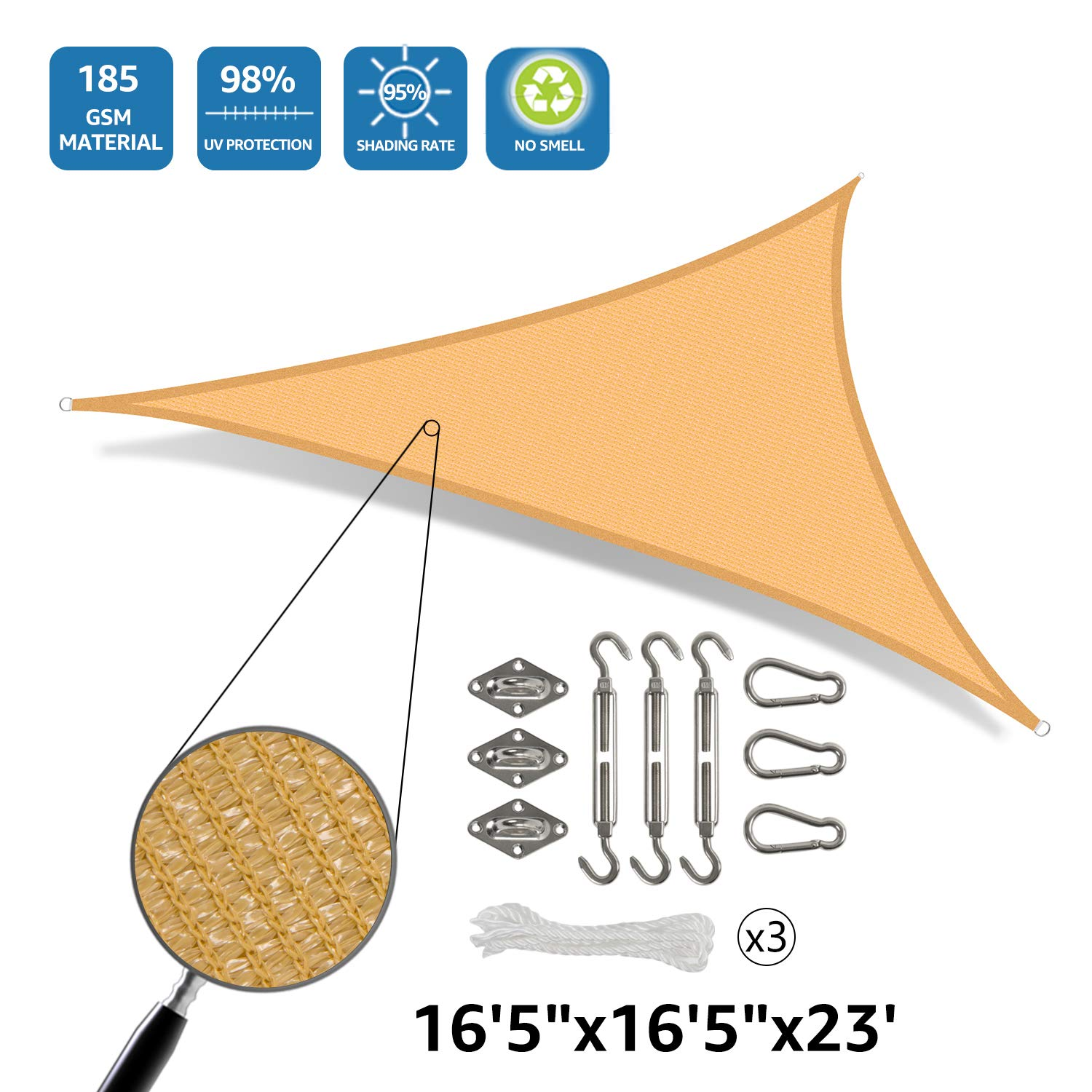 DOEWORKS 16'5''x16'5''x23' Right Triangle Sun Shade Sail with Hardware Kits, Shade for Patio Outdoor Garden, Sand