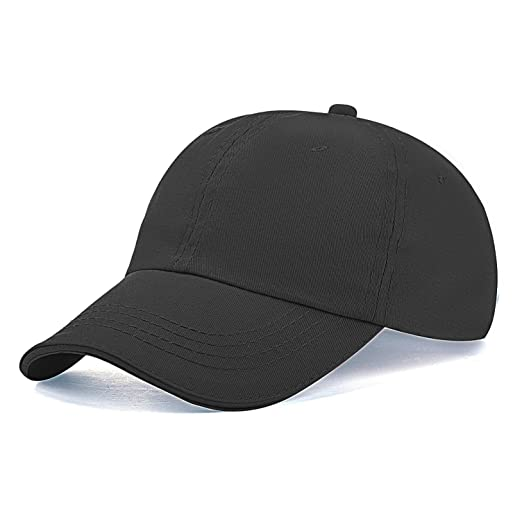 e5eb0df5fba Kids Cotton Baseball-Caps Plain Snapback Hats for Boys Girls Children Black