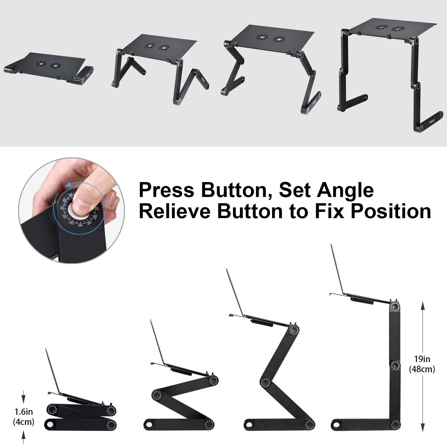 ORAF Laptop Stand,Adjustable Laptop Stand for Bed and Sofa Portable Laptop Riser Cozy Lap Desk with 2 CPU Cooling Fan Compatible with Tablets MacBook