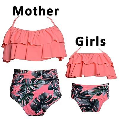 iClosam Mère-Fille Bikini Ensemble Taille Haute Rembourré Halter Plage Maillots De Bain Rétro Ruffle Maillots de Bain Maillot de Bain