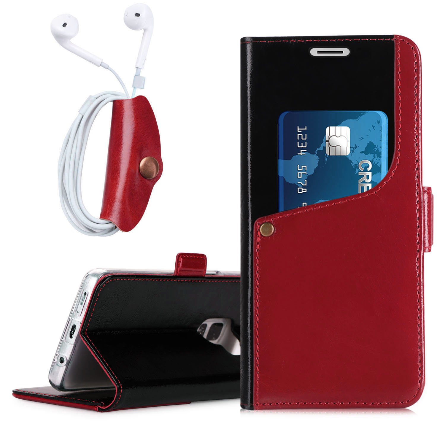 Fyy Galaxy S9 Case Luxurious Genuine Cowhide Leather Goospery Samsung Core 2 Canvas Diary Gray Wallet With Earphone For Black And Wine Red Cell Phones