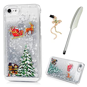 Iphone 7 Case Maxfe Co Christmas Clear Shiny Glitter Amazon Co Uk