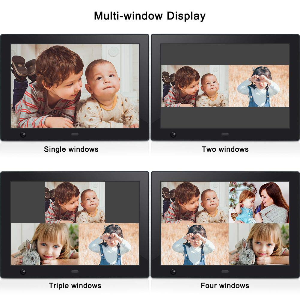 Digital Photo Frame 10 inch IPS Display Electronic Picture Frame with Motion Sensor 1080P HD LCD Display, Video Player/ MP3/ Calendar/Zoom in & Rotate Pictures/Remote Control [Jimwey] by Jimwey (Image #5)